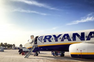 Een vliegtuig van Ryanair